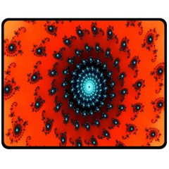 Red Fractal Spiral Fleece Blanket (medium)  by Simbadda