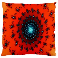 Red Fractal Spiral Large Cushion Case (one Side) by Simbadda