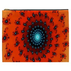 Red Fractal Spiral Cosmetic Bag (xxxl)  by Simbadda