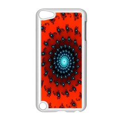 Red Fractal Spiral Apple Ipod Touch 5 Case (white) by Simbadda