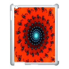 Red Fractal Spiral Apple Ipad 3/4 Case (white) by Simbadda