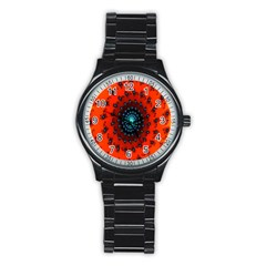 Red Fractal Spiral Stainless Steel Round Watch by Simbadda