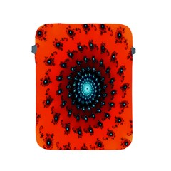 Red Fractal Spiral Apple Ipad 2/3/4 Protective Soft Cases by Simbadda