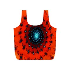 Red Fractal Spiral Full Print Recycle Bags (s)  by Simbadda