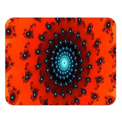 Red Fractal Spiral Double Sided Flano Blanket (large)  by Simbadda
