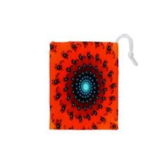 Red Fractal Spiral Drawstring Pouches (xs)  by Simbadda