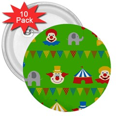 Circus 3  Buttons (10 Pack)  by Valentinaart