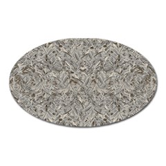 Silver Tropical Print Oval Magnet by dflcprints