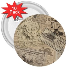 Vintage Newspaper  3  Buttons (10 Pack)  by Valentinaart