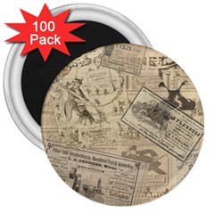 Vintage Newspaper  3  Magnets (100 Pack) by Valentinaart