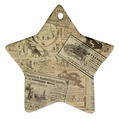 Vintage Newspaper  Star Ornament (two Sides) by Valentinaart