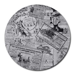 Vintage Newspaper  Round Mousepads by Valentinaart