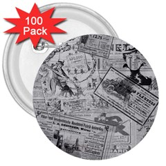 Vintage Newspaper  3  Buttons (100 Pack)  by Valentinaart