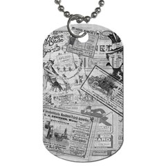 Vintage Newspaper  Dog Tag (two Sides) by Valentinaart