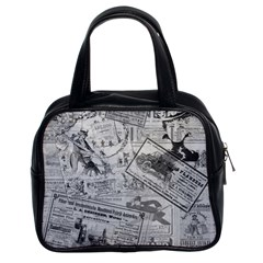Vintage Newspaper  Classic Handbags (2 Sides) by Valentinaart