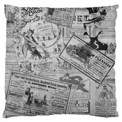Vintage Newspaper  Large Cushion Case (two Sides) by Valentinaart