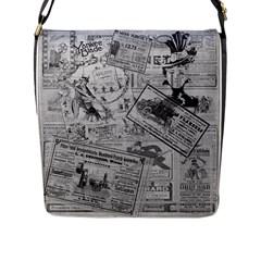 Vintage Newspaper  Flap Messenger Bag (l)  by Valentinaart