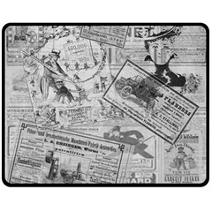 Vintage Newspaper  Double Sided Fleece Blanket (medium)  by Valentinaart
