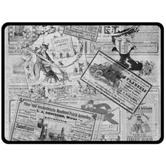Vintage Newspaper  Double Sided Fleece Blanket (large)  by Valentinaart