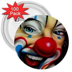 Clown 3  Buttons (100 Pack)  by Valentinaart