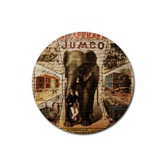 Vintage Circus  Rubber Round Coaster (4 Pack)  by Valentinaart