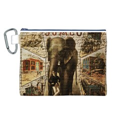Vintage Circus  Canvas Cosmetic Bag (l) by Valentinaart