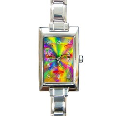 Rainbow Girl Rectangle Italian Charm Watch by Valentinaart