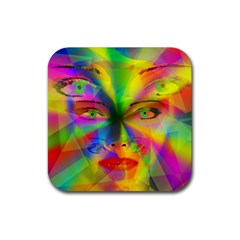 Rainbow Girl Rubber Coaster (square)  by Valentinaart