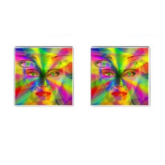 Rainbow Girl Cufflinks (square) by Valentinaart