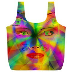 Rainbow Girl Full Print Recycle Bags (l)  by Valentinaart