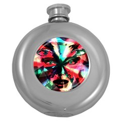 Abstract Girl Round Hip Flask (5 Oz) by Valentinaart