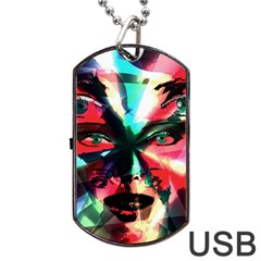 Abstract Girl Dog Tag Usb Flash (one Side) by Valentinaart