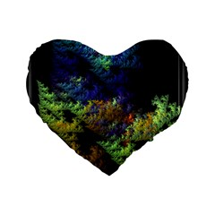 Fractal Forest Standard 16  Premium Flano Heart Shape Cushions by Simbadda