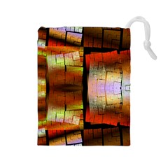 Fractal Tiles Drawstring Pouches (large)  by Simbadda