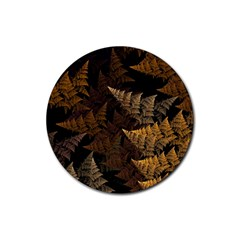 Fractal Fern Rubber Round Coaster (4 Pack)  by Simbadda