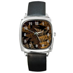 Fractal Fern Square Metal Watch by Simbadda