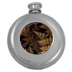 Fractal Fern Round Hip Flask (5 Oz) by Simbadda