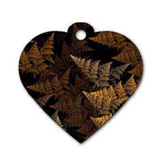 Fractal Fern Dog Tag Heart (one Side) by Simbadda