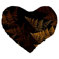 Fractal Fern Large 19  Premium Heart Shape Cushions by Simbadda