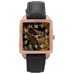 Fractal Fern Rose Gold Leather Watch  by Simbadda