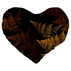 Fractal Fern Large 19  Premium Flano Heart Shape Cushions by Simbadda