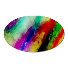 Abstract Colorful Paint Splats Oval Magnet by Simbadda