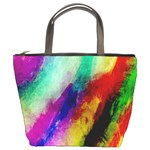 Abstract Colorful Paint Splats Bucket Bags Front