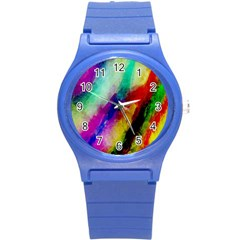 Abstract Colorful Paint Splats Round Plastic Sport Watch (s) by Simbadda