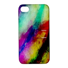 Abstract Colorful Paint Splats Apple Iphone 4/4s Hardshell Case With Stand by Simbadda