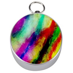 Abstract Colorful Paint Splats Silver Compasses by Simbadda