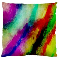 Abstract Colorful Paint Splats Large Flano Cushion Case (one Side) by Simbadda