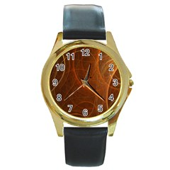 Fractal Color Lines Round Gold Metal Watch by Simbadda
