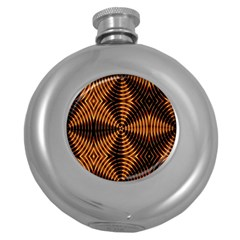 Fractal Patterns Round Hip Flask (5 Oz) by Simbadda