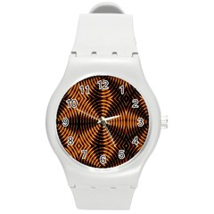 Fractal Patterns Round Plastic Sport Watch (m) by Simbadda